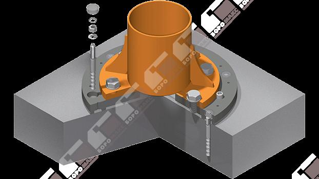 Система крепления крана с помощью химических анкеров